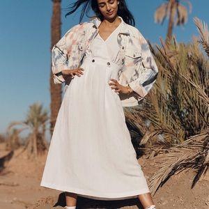 Madewell White Button Waist Wrap MIDI Dress Size 6